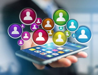 Group of contact icon displayed on a technology interface background - Network and communication concept