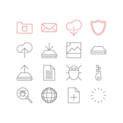 Vector Illustration Of 16 Internet Icons. Editable Pack Of Hdd Sync, Privacy Doc, Safeguard And Other Elements.