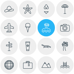 Vector Illustration Of 16 Summer Icons. Editable Pack Of Longue, Suitcase, Palm And Other Elements.