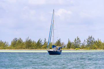 The boat near the shore of the island of Cayo Largo, Cuba. Copy space for text.
