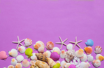 Composition of exotic sea shells, boat, lighthouse, nautical knots, gulls on a purple background. The view from the top. Place for your text.