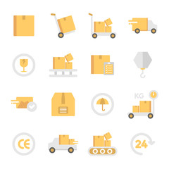 Shipping And Delivery Icons In Flat Color