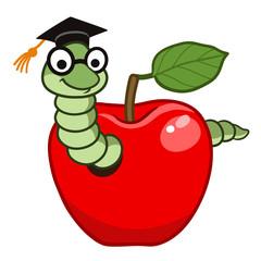 Cute cartoon bookworm in apple