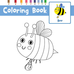Coloring page of Bee flying with jar of honey animals for preschool kids activity educational worksheet. Vector Illustration.