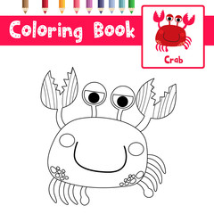 Coloring page of Red Crab animals for preschool kids activity educational worksheet. Vector Illustration.