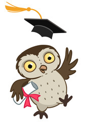 Cute cartoon happy owl graduate
