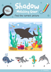 Shadow matching game by finding the correct picture of Angry Shark animals for preschool kids activity worksheet colorful printable version layout in A4 vector illustration