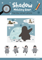 Shadow matching game by finding the correct picture of Funny Penguin and igloo animals for preschool kids activity worksheet colorful printable version layout in A4 vector illustration.