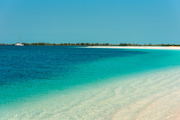 Sandy beach Playa Paradise of the island of Cayo Largo, Cuba. Copy space for text.