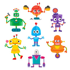 Set of cute and funny colorful robot characters, cartoon vector illustration isolated on white background. Cartoon style set of funny colorful robot toys, aliens, androids