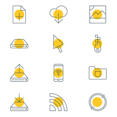 Vector Illustration Of 12 Web Icons. Editable Pack Of Data Upload, Document Adding, Refresh And Other Elements.
