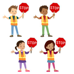 Multicultural children in traffic crossing guard uniform