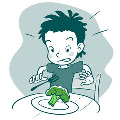 Cartoon boy refusing to eat broccoli, picky eater concept
