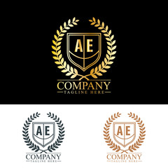 Initial Letter AE Luxury. Boutique Brand Identity