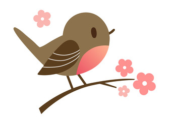 Cartoon hand drawn illustration of a cute robin bird sitting on a flowering tree branch, in contemporary flat vector style. Spring nature outdoor themed design element