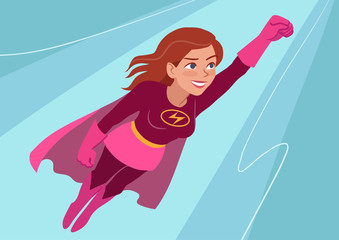 Vector hand drawn cartoon character illustration of a young Caucasian woman wearing superhero costume with cape, flying through air in superhero pose, on aqua sky background. Flat contemporary style.