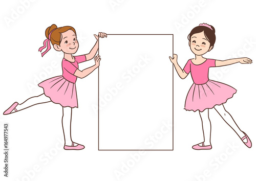 vector cartoon character illustration of two cute little ballerina