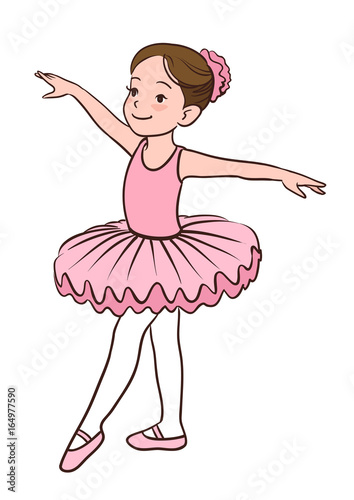 83cf309664f2e Cartoon vector illustration of a smiling little Caucasian ballerina girl  wearing pink leotard, tutu and ballet slippers, standing gracefully with  arms apart ...