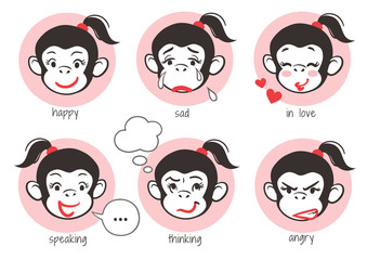 Monkey girl face emoji stickers, showing different emotions