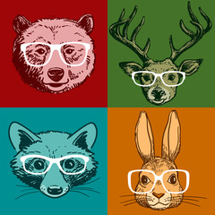 Hipster animal portraits, pen and ink bear, deer, raccoon, bunny