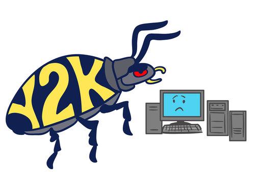 Cartoon Y2K millennium bug attacking personal computer