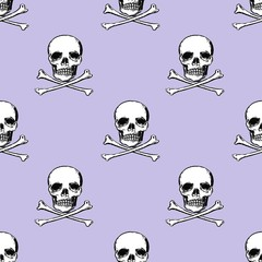 Seamless illustration with skulls and crossed shinbone, on purple background