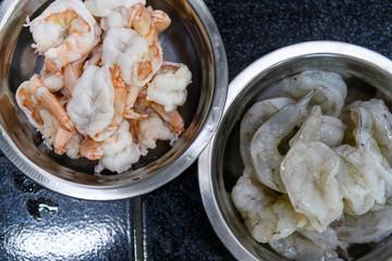 Fresh shrimp to cook.