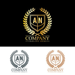 Initial Letter AN Luxury. Boutique Brand Identity