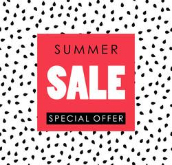 'Summer sale' vector illustration on watermelon seeds background