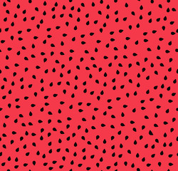 Watermelon seeds summer seamless pattern, black seeds on red background