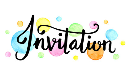 INVITATION Banner with watercolour dots
