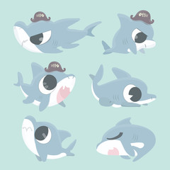 Cartoon shark collection set.
