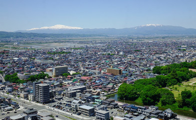 View of Yamagata City in Tohoku, Japan