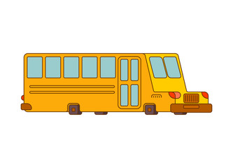 School bus contour style isolated. Yellow bus for transportation of children