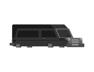 Hearse flat style isolated. Carriage of corpses for cemetery. Black long car
