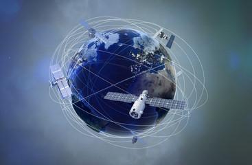 Erdkugel mit Satelliten