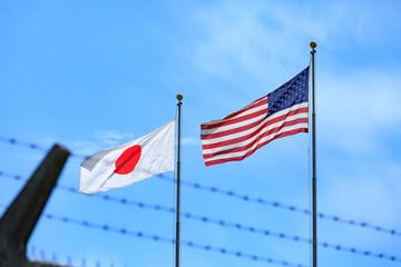 普天間基地の日米国旗