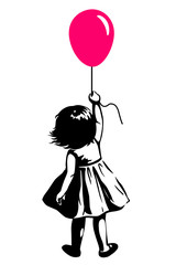 Vector hand drawn black and white silhouette illustration of a toddler girl standing with pink red balloon in hand, back view. Urban street art style graffiti stencil art design element.