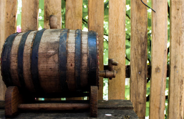A wooden keg on table