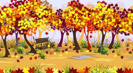 Autumn park landscape with maple trees, bench and falling leaves. Seamless realistic illustration, 3 separate layers ready for parallax effect in web design. Hand drawn vector endless background.