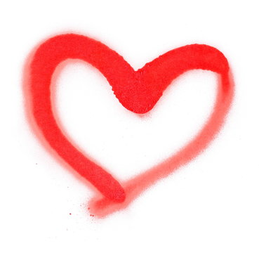 Red spray stain heart symbol isolated on white background, photo with clipping path