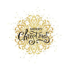 Christmas golden snowflake with celebration text
