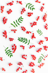 Berry pattern. Red currant and leaves on white background top view
