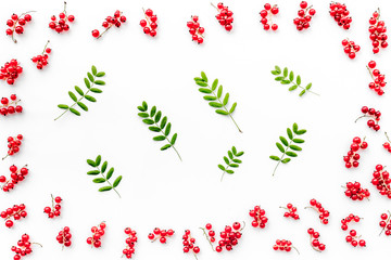 Berry theme. Red currant and leaves on white background top view