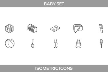 Simple Set ofNewborn and Pregnancy Vector LineIcons. Contains suchIconsasbuilding blocks, rattle, stacking rings, baby bed, footprint, feeding bottle and more.