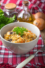 Risotto with vegetables.