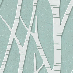 seamless trendy pattern with birch trees. Floral modern 3D wallpaper. Vector illustration