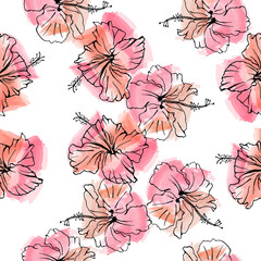 Hand drawn vector seamless pattern of hibiscus flowers. Sketch on watercolor background.