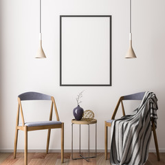 Mockup Poster in the interior 3D illustration of a modern design