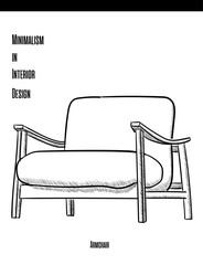 Armchair with wooden armrests in a contour on a white background. Minimalism in Interior Design eps 10 illustration